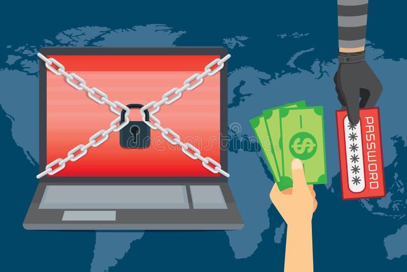 受害者手对密码的交换金钱在黑暗的黑客手上 向量例证