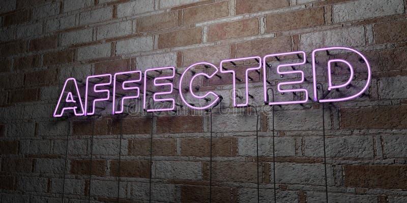 受影响-在石制品墙壁上的发光的霓虹灯广告- 3D回报了皇族自由储蓄例证 向量例证