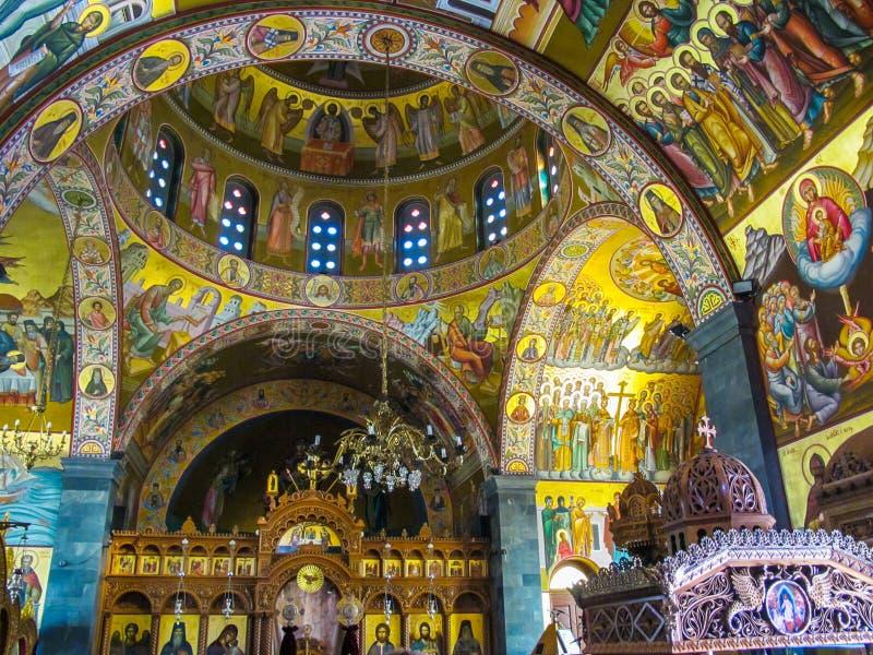受护神的圣徒Savvas东正教内部的希腊语 图库摄影