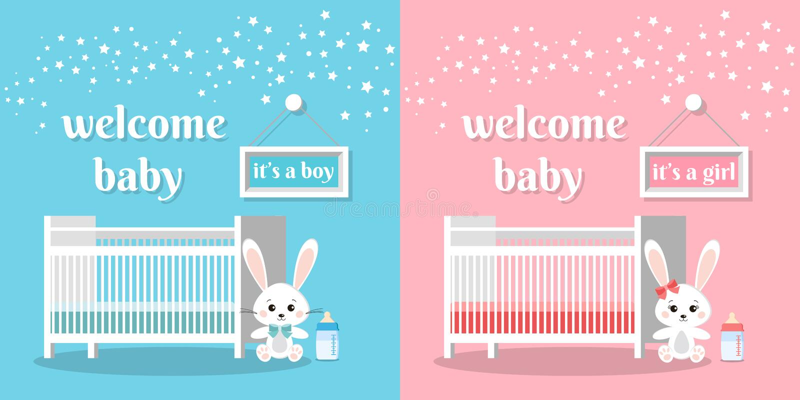 受欢迎的婴孩被设置这是男孩和女孩传染媒介例证 库存例证