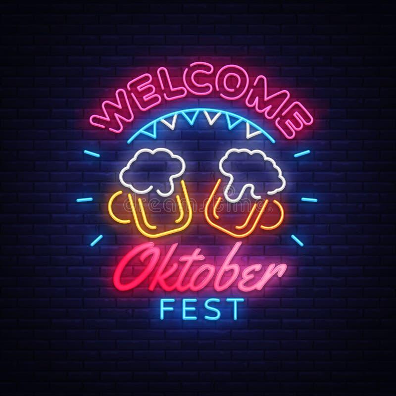 受欢迎的慕尼黑啤酒节贺卡 Oktobefest霓虹灯广告设计模板事件庆祝 啤酒节日霓虹横幅 向量例证