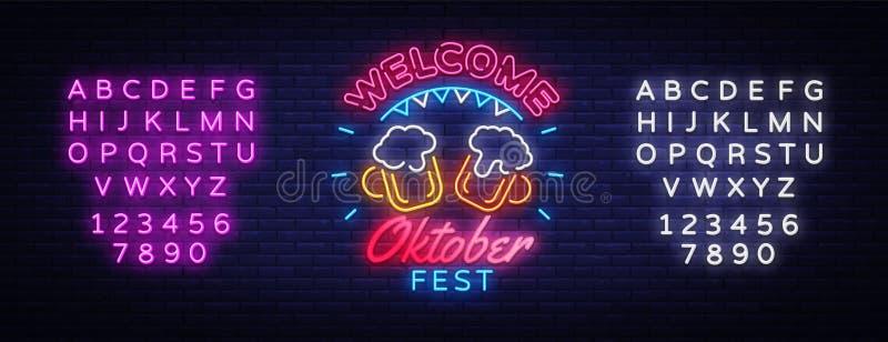 受欢迎的慕尼黑啤酒节贺卡 Oktobefest霓虹灯广告设计模板事件庆祝 啤酒节日霓虹横幅 库存例证
