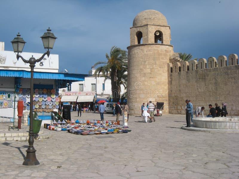 受难者正方形和清真大寺。苏斯。突尼斯 免版税库存图片