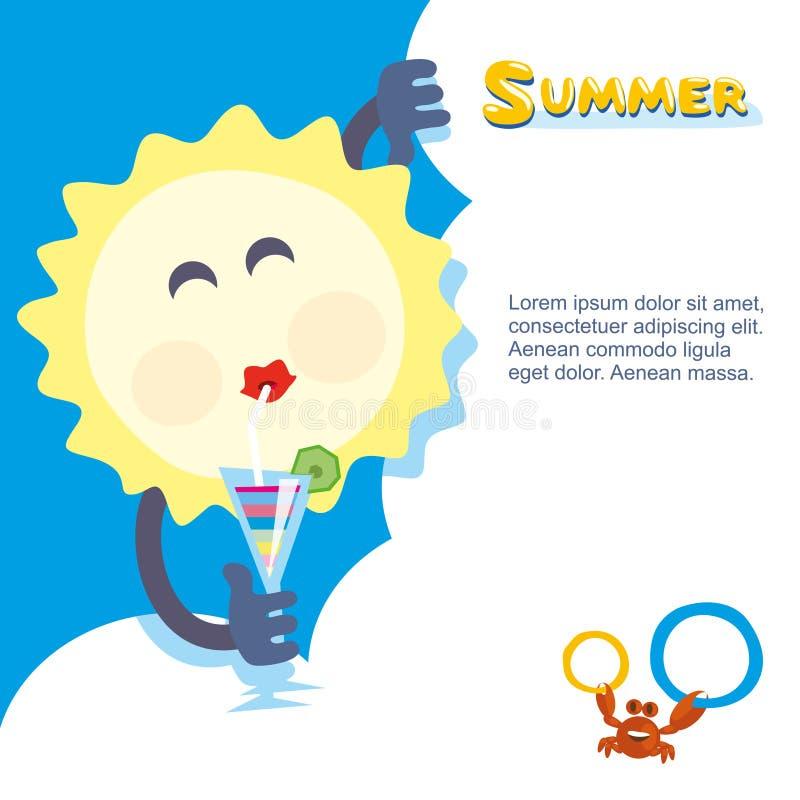 变冷与鸡尾酒的夏天太阳 库存例证