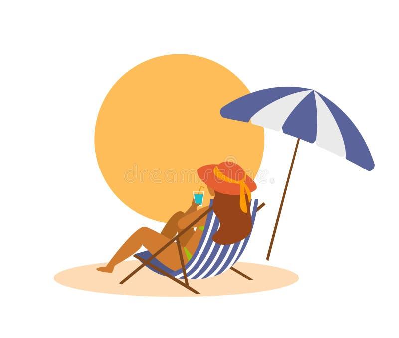 变冷在海滩的sunchair的妇女在假期后面视图 库存例证