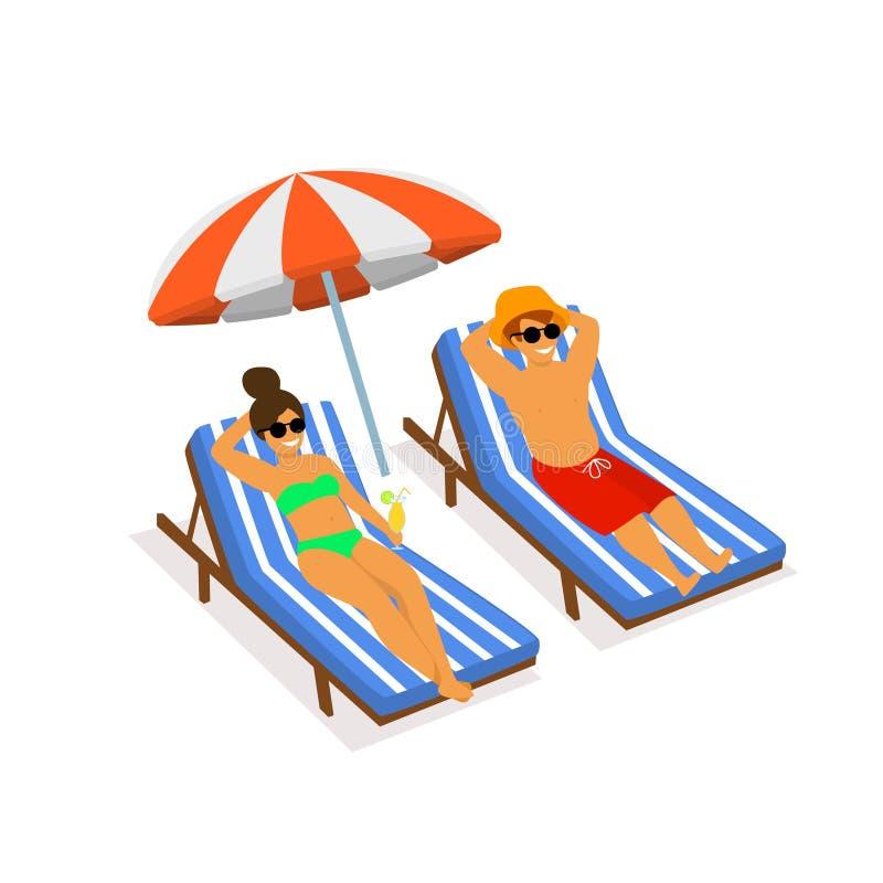 变冷在海滩的sunchairs的凉快的夫妇假期场面 皇族释放例证