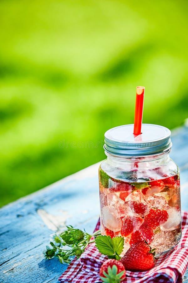 变冷的莓果灌输了草莓在一个玻璃瓶子的混合饮料钵 免版税库存照片