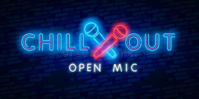 变冷,开放mic 党、旅游业和假期广告设计 夜明亮的霓虹灯广告,五颜六色的广告牌,轻的横幅 向量例证