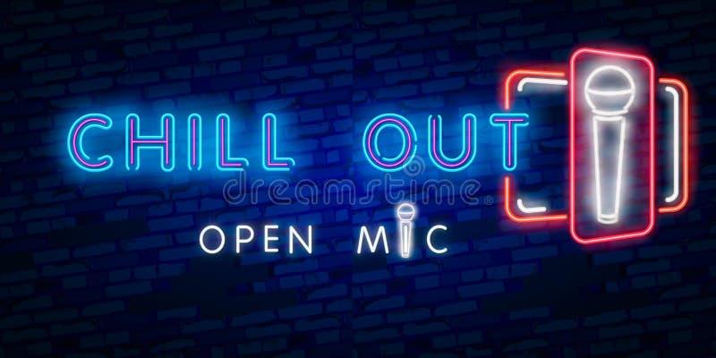 变冷,开放mic 党、旅游业和假期广告设计 夜明亮的霓虹灯广告,五颜六色的广告牌,轻的横幅 皇族释放例证