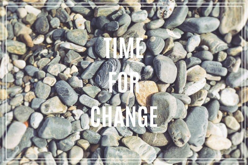 变动的字时间 作为背景的海石头 免版税库存图片