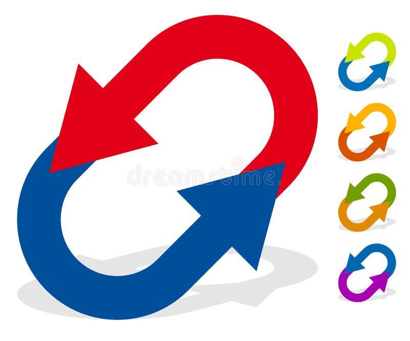变动的,重新设置,交换,轮,交换概念圆箭头 皇族释放例证