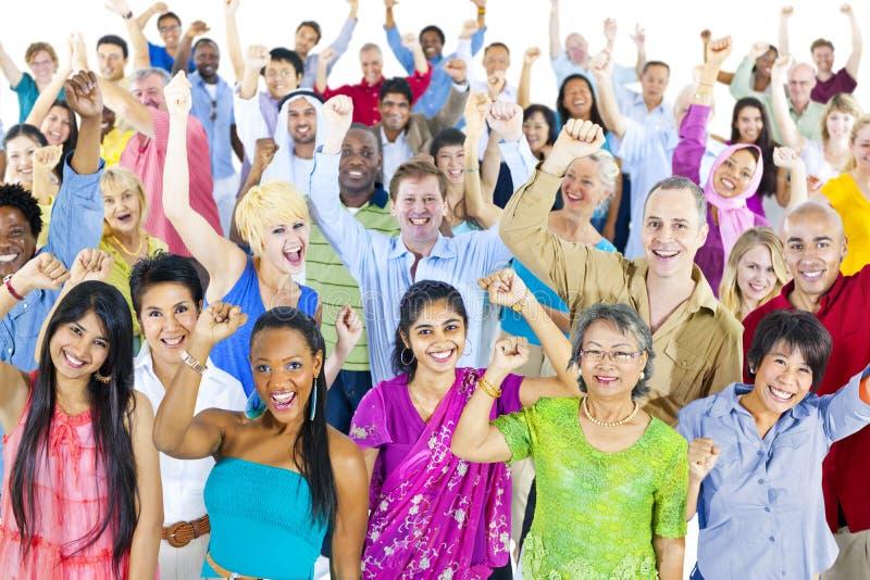 变化公共庆祝欢呼的人群概念 免版税库存照片