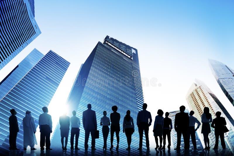 变化商人保险单讨论概念 免版税图库摄影