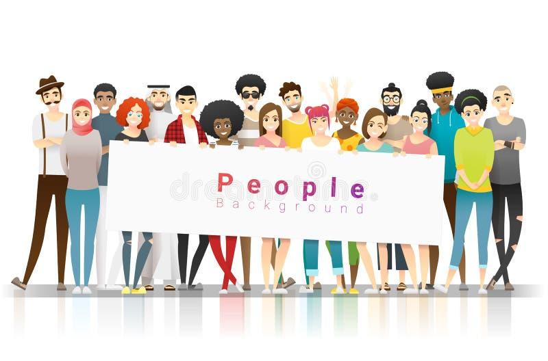 变化概念背景,一起站立和拿着空的横幅的小组愉快的多种族人民 库存例证