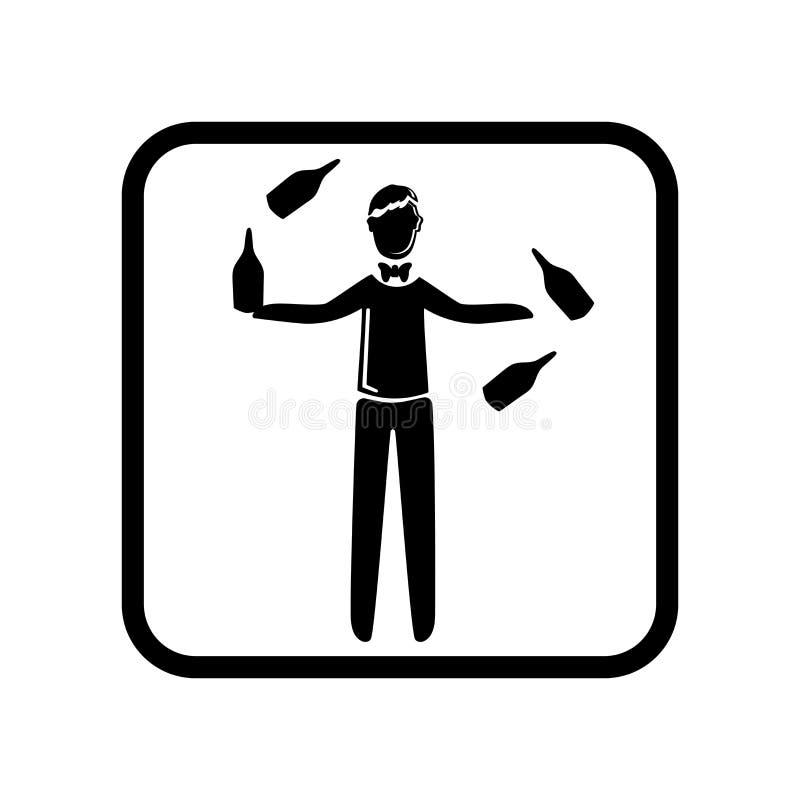 变戏法者在白色背景隔绝的象传染媒介,变戏法者标志,假日例证 库存例证