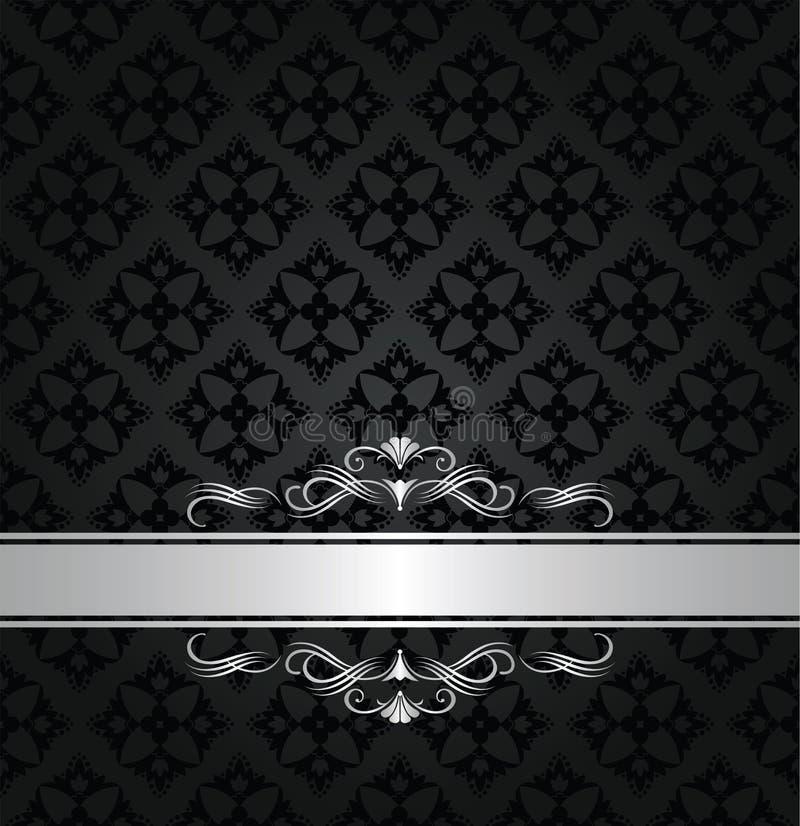 变成银色在黑花卉无缝的样式的横幅 皇族释放例证