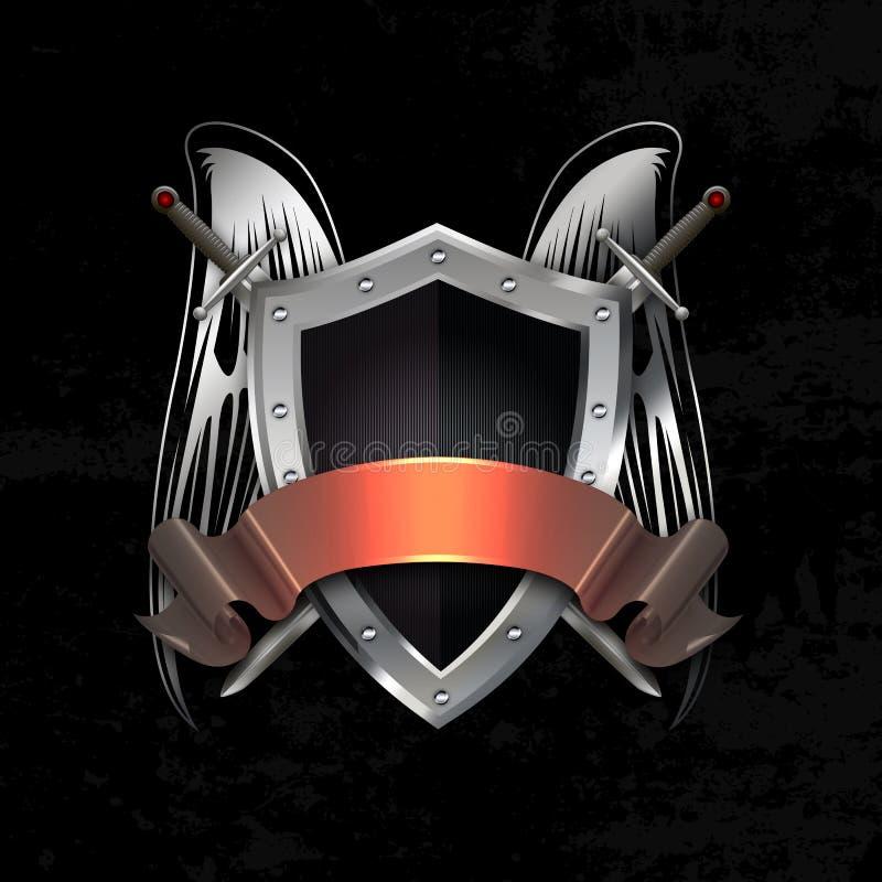 变成银色有剑、翼和丝带的被铆牢的盾 向量例证