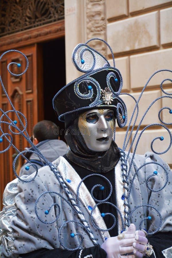 变成银色的面具在威尼斯,意大利,欧洲 库存照片