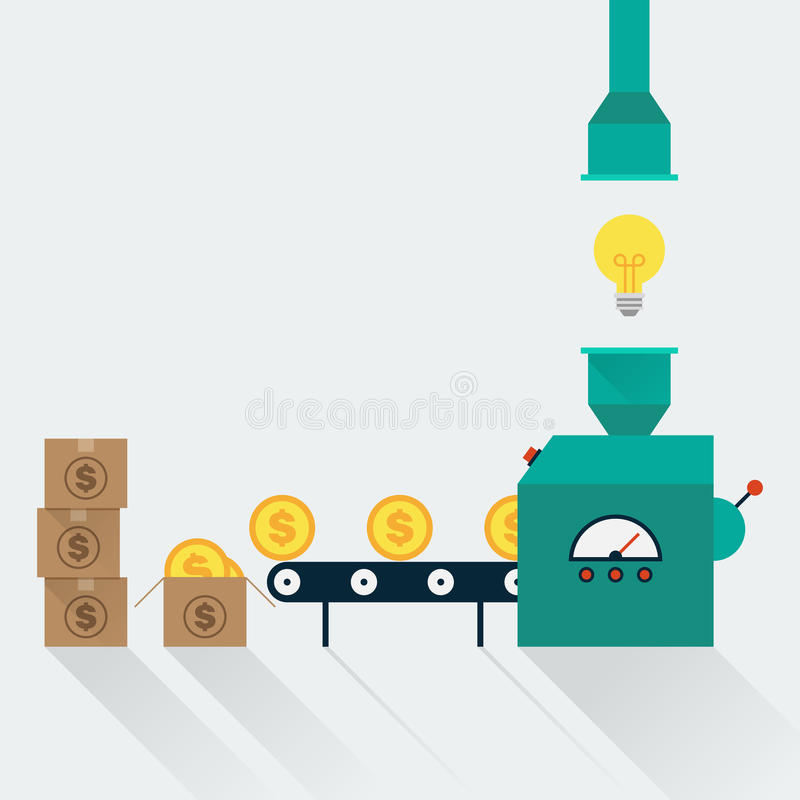变换创造性的想法对金钱,在浓缩的事务的创造性的想法 库存例证