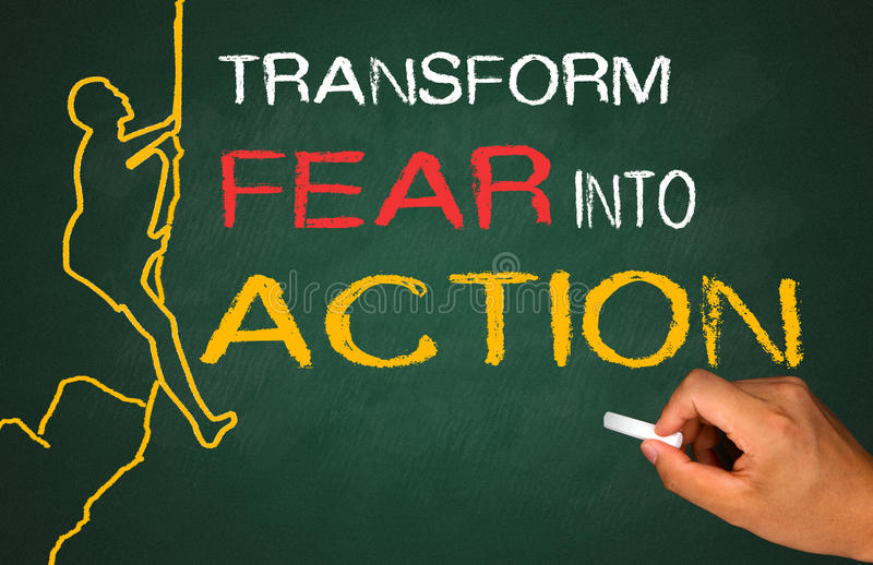 变换恐惧成行动 免版税库存图片