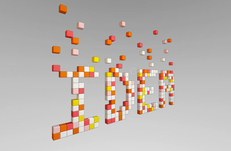 变换的下降的颜色块成想法词 库存例证