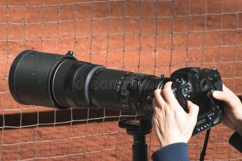 变焦镜头,职业体育摄影 图库摄影