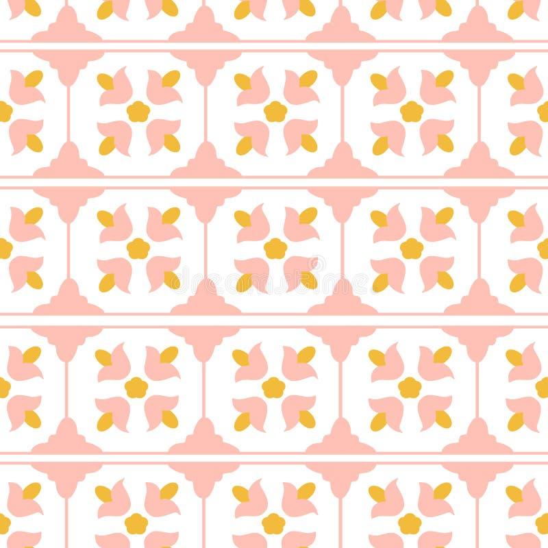 变粉红色一个黄色瓦片设计 皇族释放例证