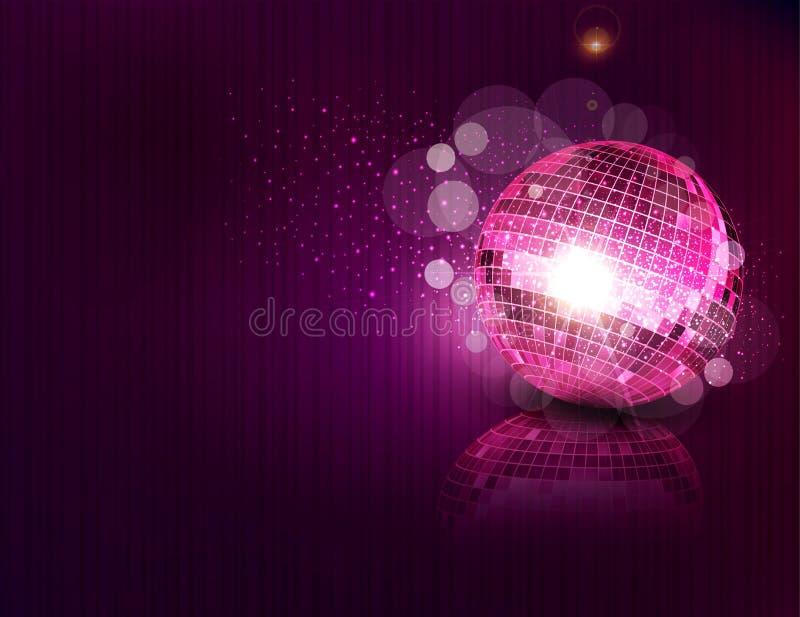 变粉红色镜子球和反映 皇族释放例证