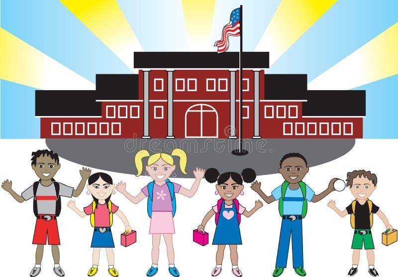 变老所有孩子种族学校 向量例证