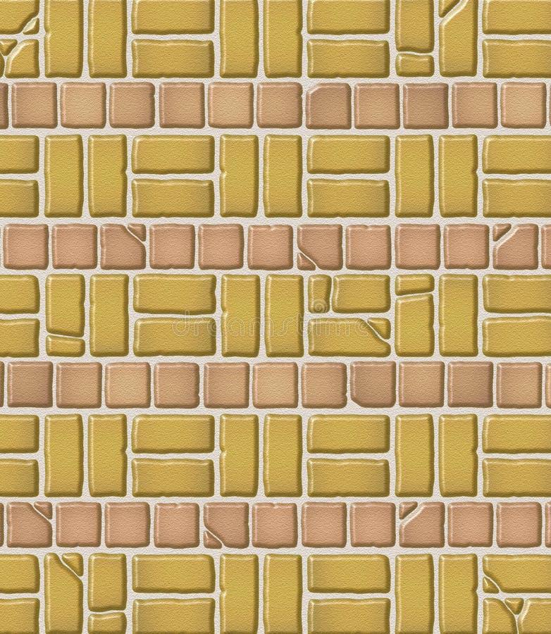 变老的砖模式瓦片 向量例证