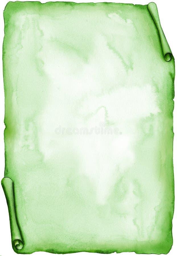 变老的绿色羊皮纸水彩 向量例证
