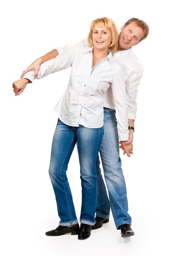变老的美丽的夫妇中间名纵向 库存照片