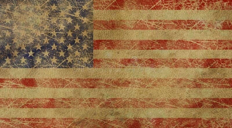 变老的美国国旗美国 免版税库存照片