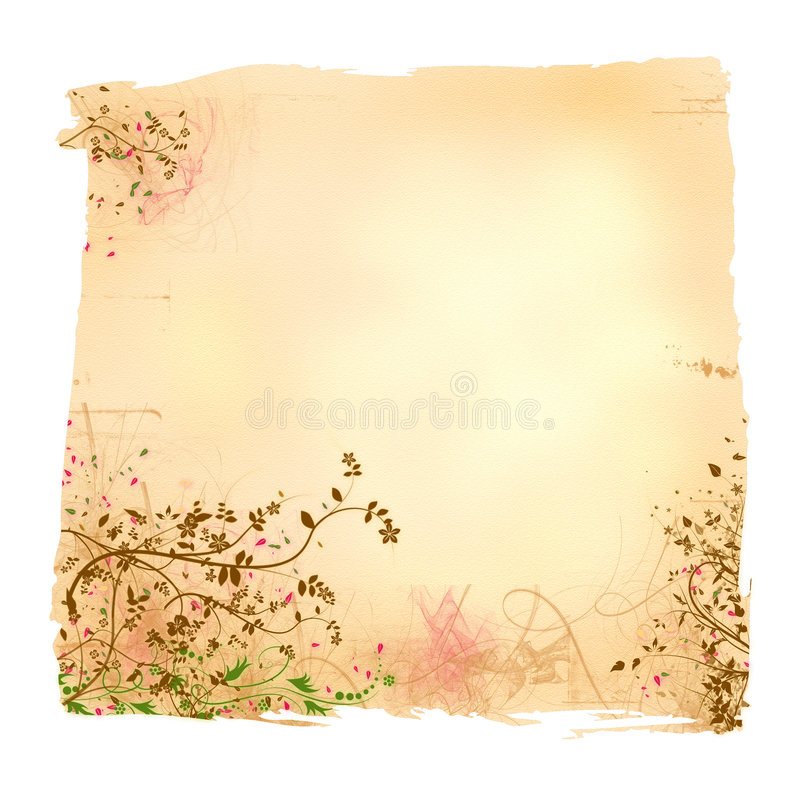 变老的花卉纸张 向量例证