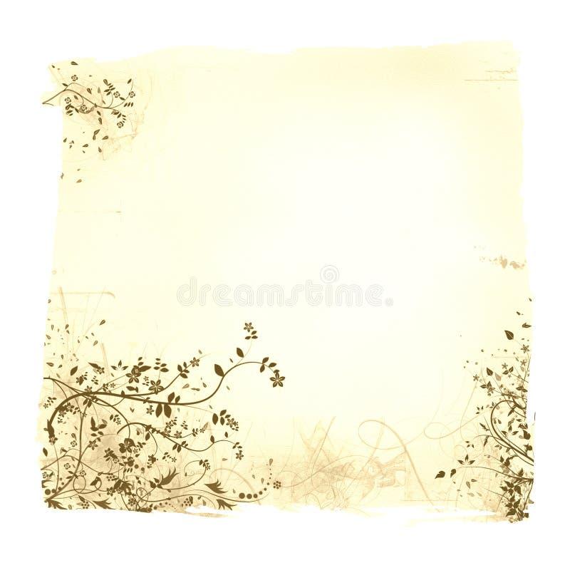 变老的花卉纸张 库存例证