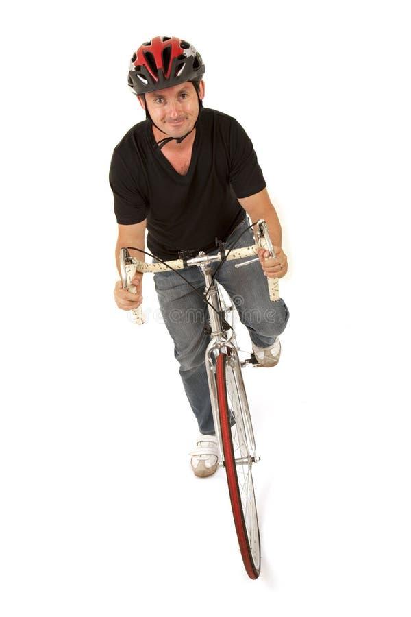 变老的骑自行车者适合的中间名 库存照片