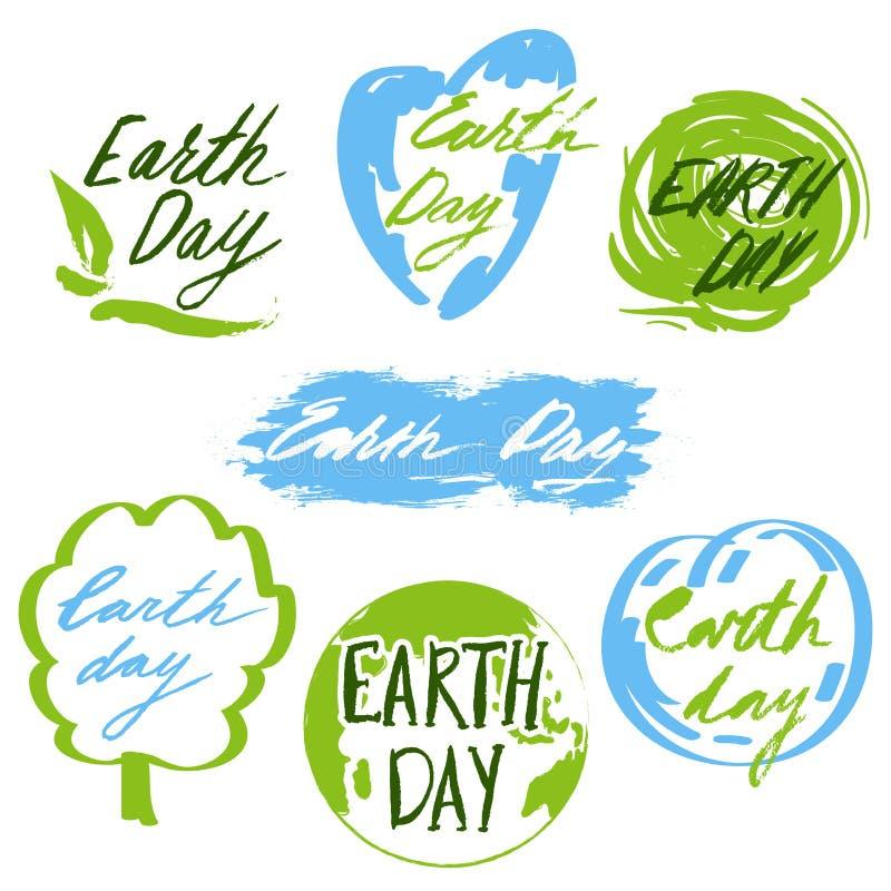 变褐环境叶子去去的绿色拥抱本质说明说法口号文本结构树的包括的日地球 徽章和标签与手拉的字法 皇族释放例证