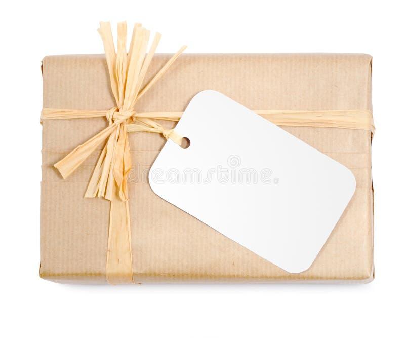 变褐礼品自然包裹 免版税库存图片