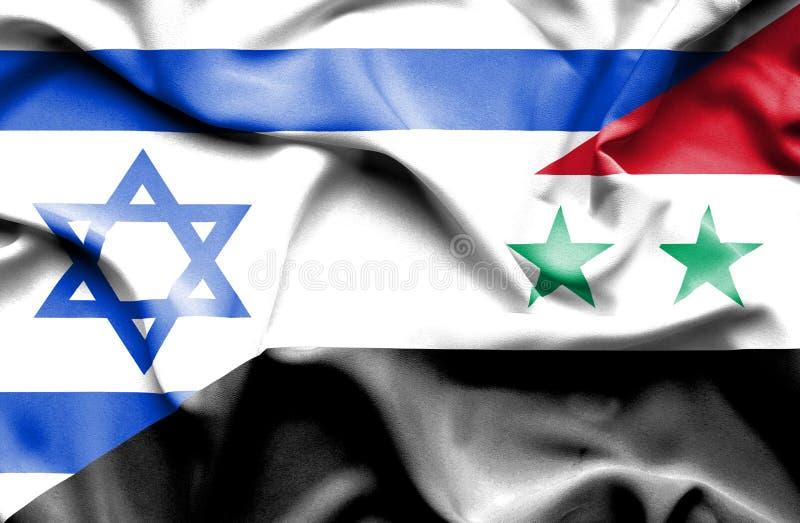 叙利亚和以色列的挥动的旗子 皇族释放例证