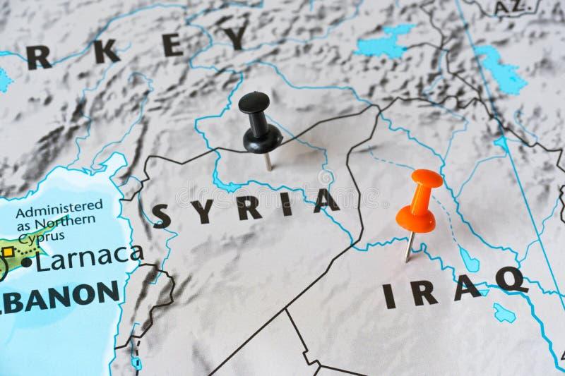 叙利亚和伊拉克,世界热点概念的地图 免版税库存照片