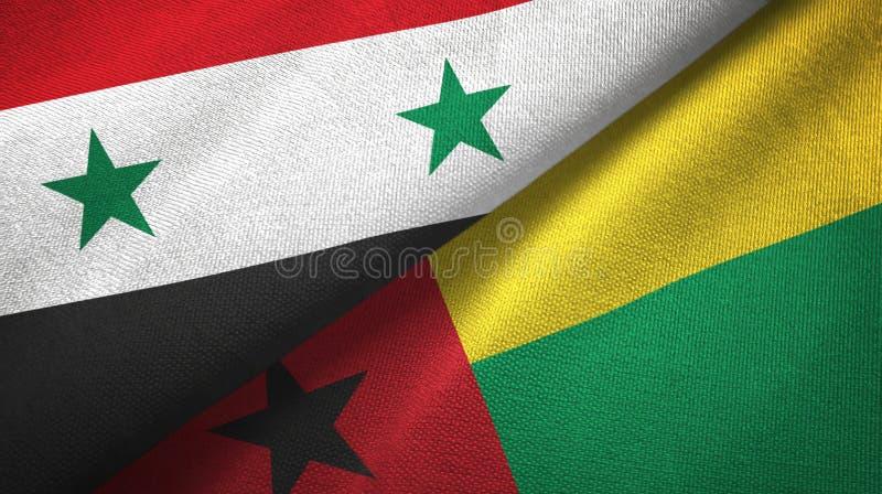 叙利亚和几内亚比绍两旗子纺织品布料,织品纹理 库存例证