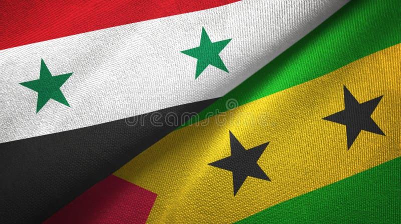 叙利亚和圣多美和普林西比两旗子纺织品布料,织品纹理 向量例证
