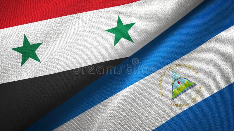 叙利亚和尼加拉瓜两旗子纺织品布料,织品纹理 库存例证