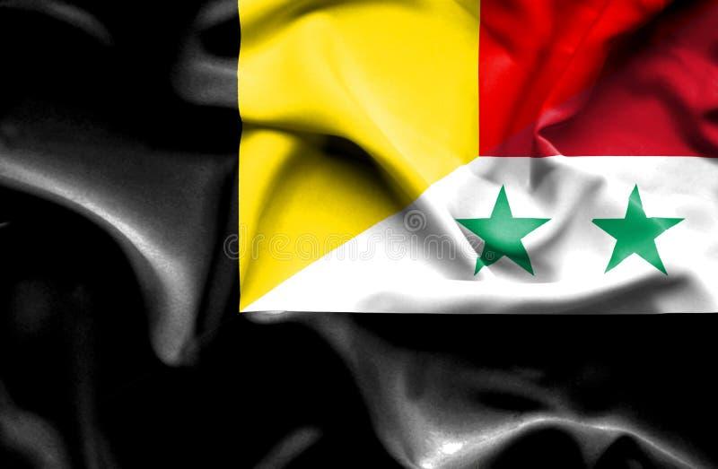 叙利亚和比利时的挥动的旗子 向量例证