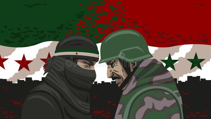 叙利亚的战争。 向量例证
