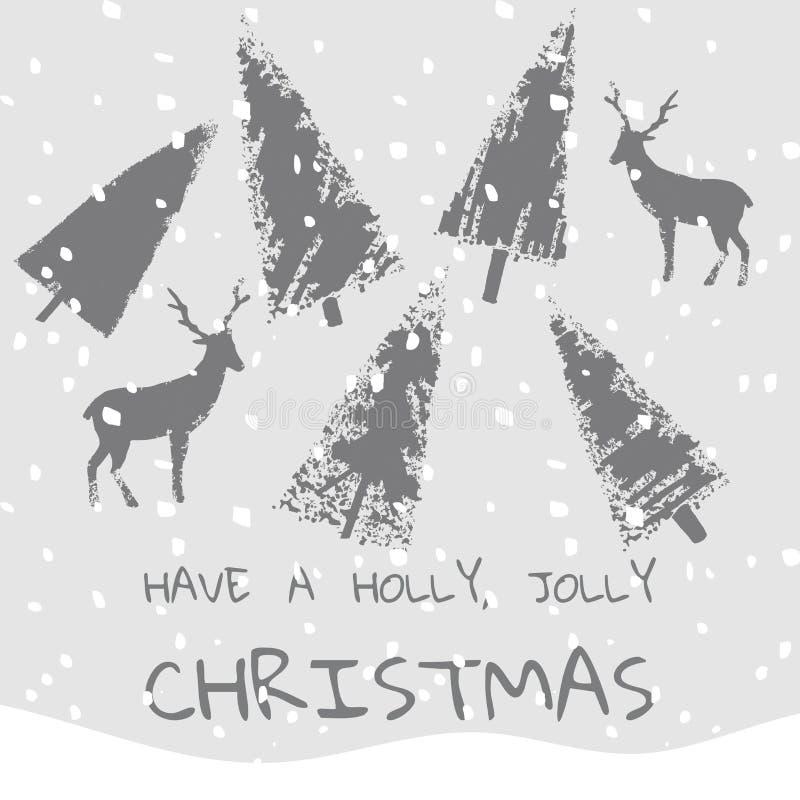 口号有霍莉快活的圣诞节xmas背景 向量例证