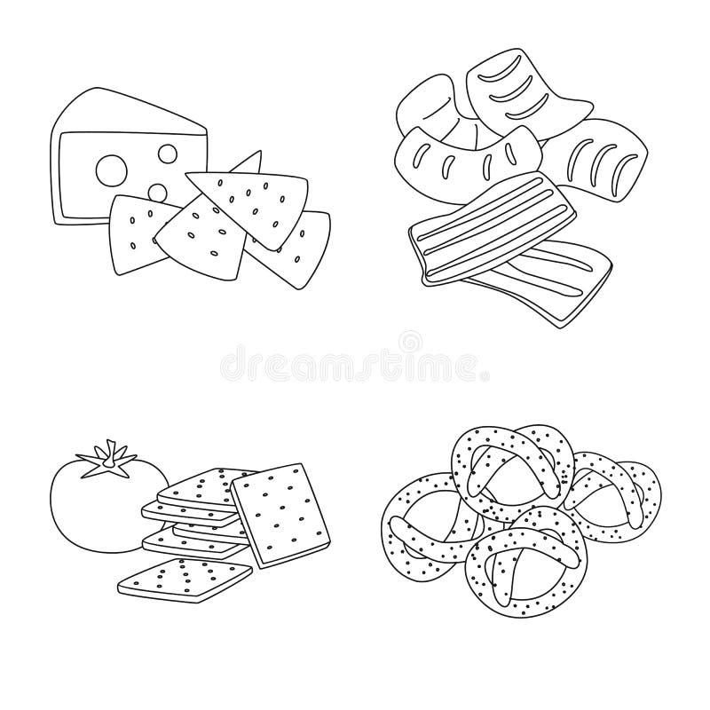 口味和嘎吱咬嚼的商标传染媒介设计  r 库存例证