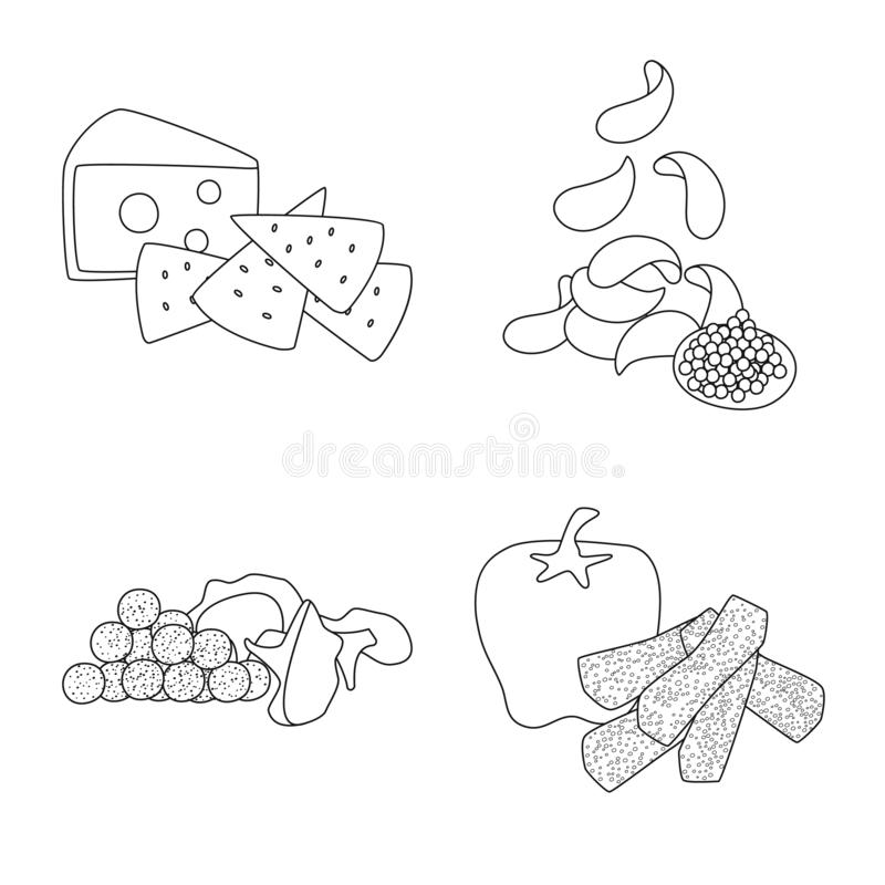 口味和嘎吱咬嚼的商标的传染媒介例证 o 库存例证