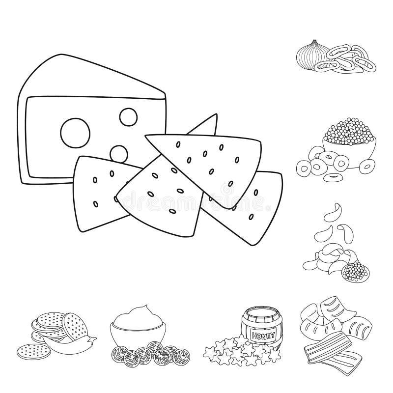 口味和嘎吱咬嚼的标志传染媒介设计  E 皇族释放例证