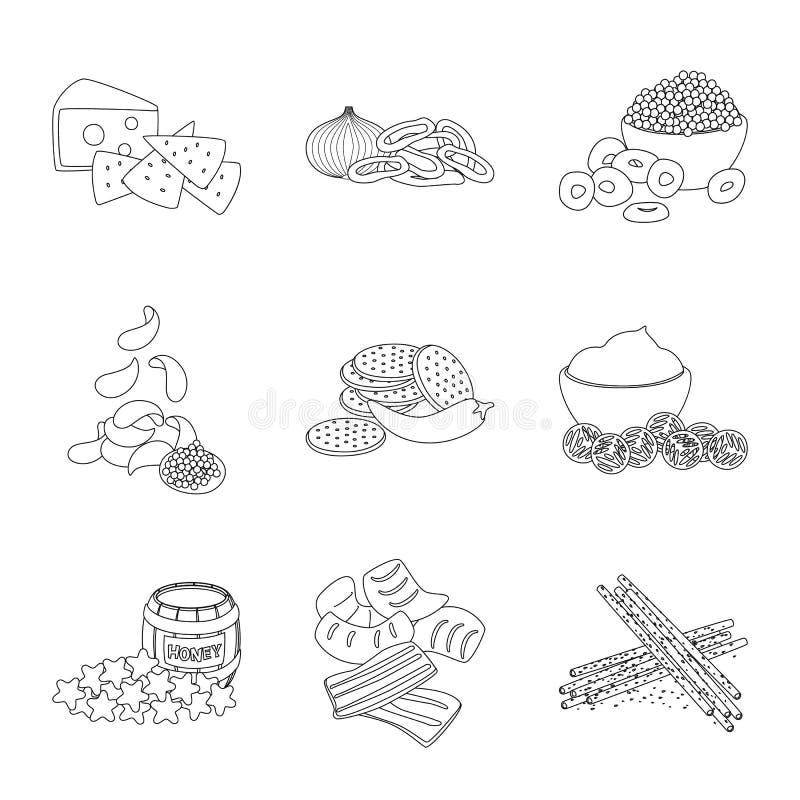 口味和嘎吱咬嚼的标志传染媒介设计  r 向量例证